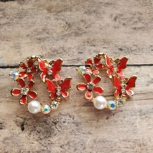 Red Halo Butterfly Crystals and Pearl Post Earring